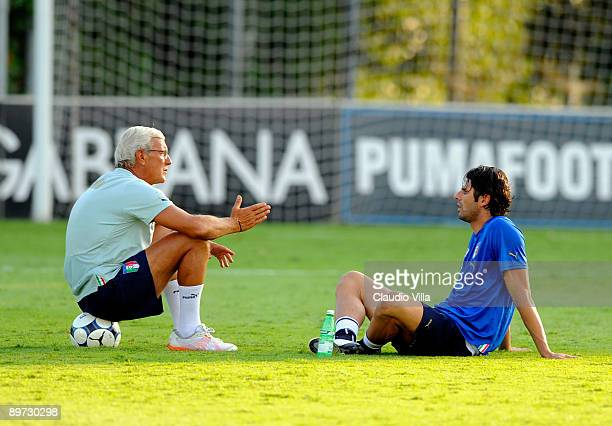 Coach Marcello Lippi and Vincenzo Iaquinta of Italy during the training on August 10 2009 in Coverciano Italy