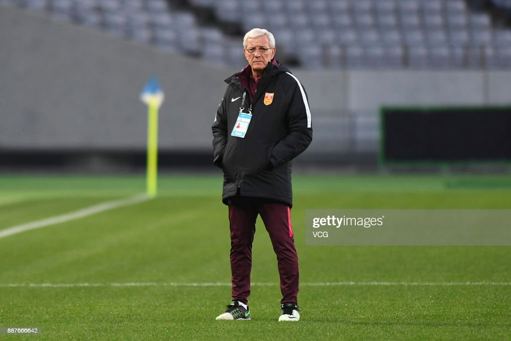 Coach Marcello Lippi of China attends a training session ahead of the 2017 EAFF E-1 Football Championship Final round at Ajinomoto Stadium on December 7, 2017 in Tokyo, Japan.