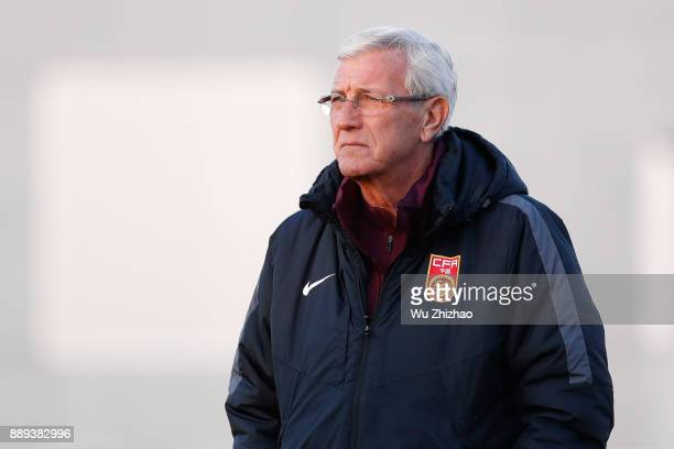 Coach Marcello Lippi of China attends a training session during the 2017 EAFF E1 Football Championship Final round on December 10 2017 in Tokyo Japan