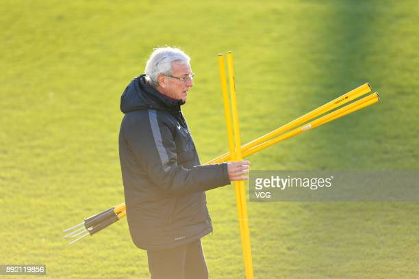 Coach Marcello Lippi of China attends a training session during the 2017 EAFF E1 Men's Football Championship on December 14 2017 in Tokyo Japan