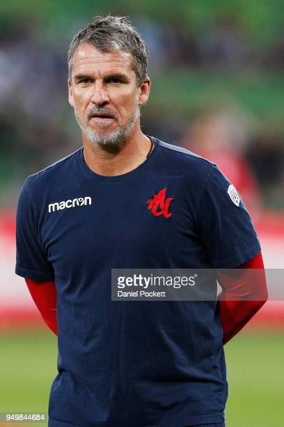 Coach Marco Kurz of Adelaide United looks on before the ALeague Elimination Final match between Melbourne Victory and Adelaide United at AAMI Park on...