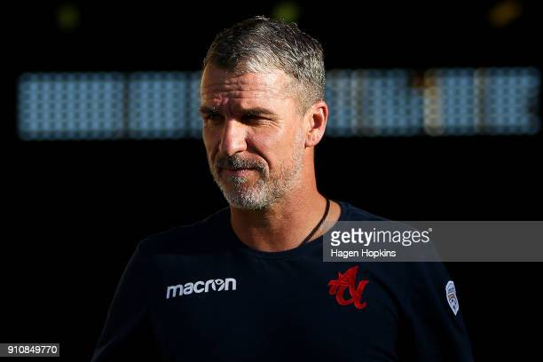 Coach Marco Kurz of Adelaide United looks on during the round 18 ALeague match between the Wellington Phoenix and Adelaide United at Westpac Stadium...
