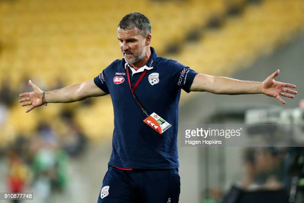 Coach Marco Kurz of Adelaide United reacts during the round 18 ALeague match between the Wellington Phoenix and Adelaide United at Westpac Stadium on...