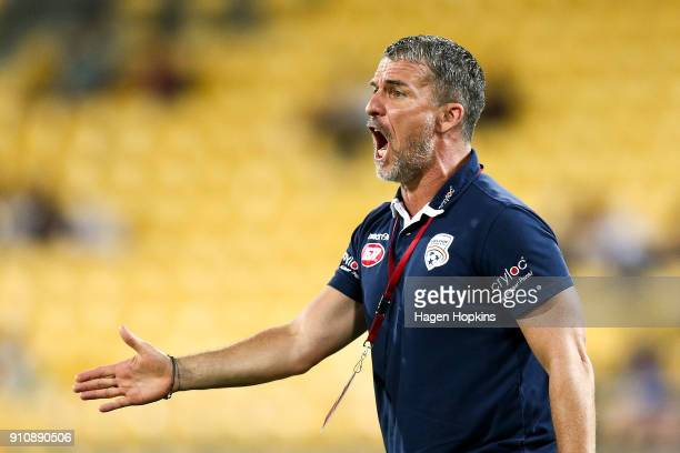 Coach Marco Kurz of Adelaide United talks to his players during the round 18 ALeague match between the Wellington Phoenix and Adelaide United at...