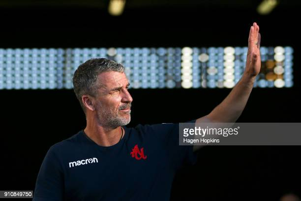 Coach Marco Kurz of Adelaide United waves to the crowd during the round 18 ALeague match between the Wellington Phoenix and Adelaide United at...