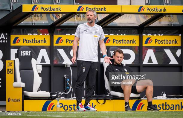 coach Marco Rose and assistant coach Rene Maric of Borussia Moenchengladbach during the Bundesliga match between Borussia Moenchengladbach and Hertha...