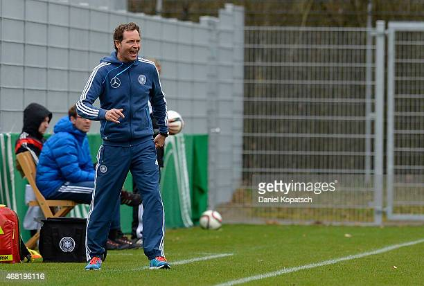 Coach Marcus Sorg of Germany reacts during the UEFA Under19 Elite Round match between Germany and Czech Republic on March 31 2015 in Walldorf Germany