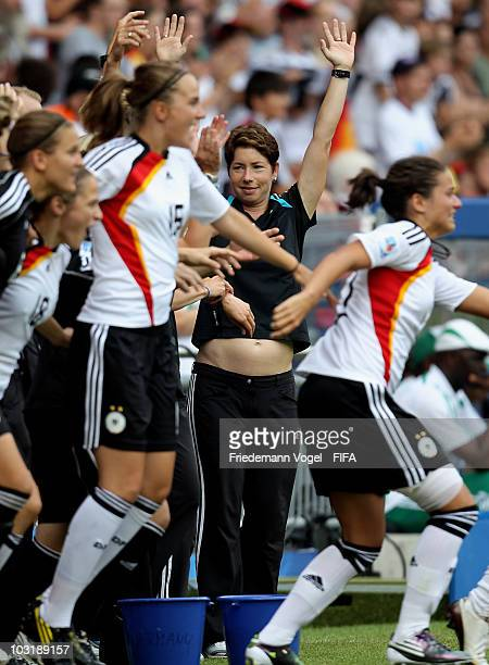 Coach Maren Meinert of Germany celebrates after winning the FIFA U20 Women's World Cup Final match between Germany and Nigeria at the FIFA U20...
