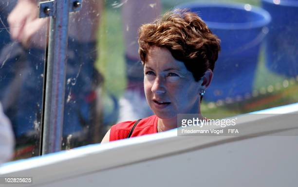 Coach Maren Meinert of Germany looks on during the training at the FIFA U20 Women's World Cup stadium on July 12 2010 in Bochum Germany