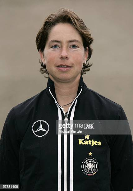 Coach Maren Meinert poses during the photo call of the Women's Under 19 German National Team on April 12 2006 in Winterthur Switzerland The Women's...