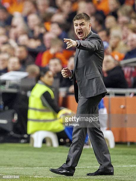 coach Marians Pahars of Latvia during the match between Netherlands and Latvia on November 16 2014 at the Amsterdam Arena in Amsterdam The Netherlands