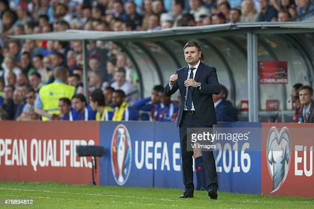 coach Marians Pahars of Latvia during the UEFA EURO 2016 qualifying match between Latvia and The Netherlands on June 12 2015 at the Skonto stadium in...