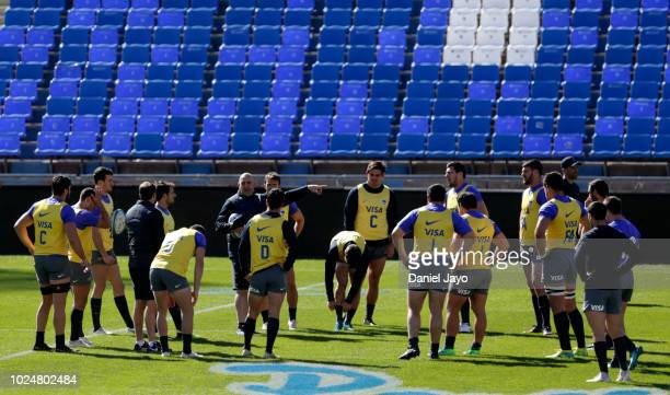 Coach Mario Ledesma gives directions to his players during Argentina Captain's Run before the The Rugby Championship 2018 match against South Africa...