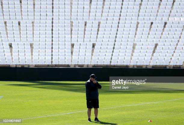 Coach Mario Ledesma looks down during Argentina Captain's Run before the The Rugby Championship 2018 match against South Africa at Estadio Malvinas...
