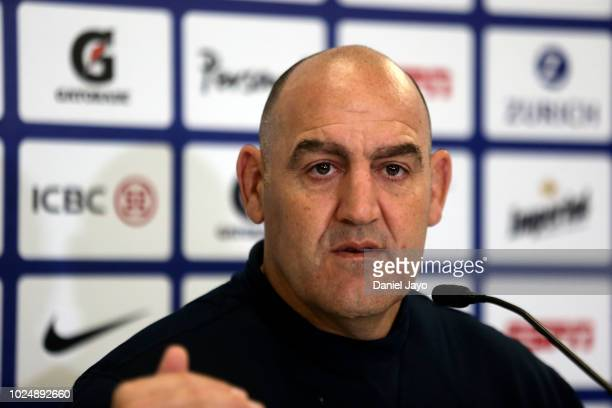 Coach Mario Ledesma talks during a press conference after Argentina Captain's Run before the The Rugby Championship 2018 match against South Africa...