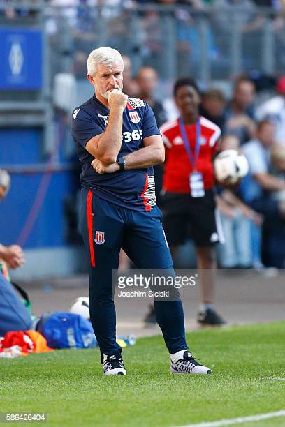 Coach Mark Hughes of Stoke City during the preseason friendly match between Hamburger SV and Stoke City at Volksparkstadion on August 6 2016 in...