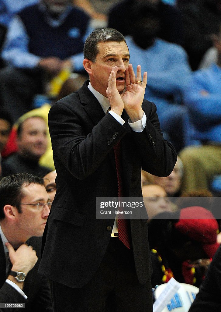 Coach Mark Turgeon of the Maryland Terrapins directs his team during a game against the North Carolina Tar Heels at the Dean Smith Center on January 19, 2013 in Chapel Hill, North Carolina. North Carolina won 62-52.