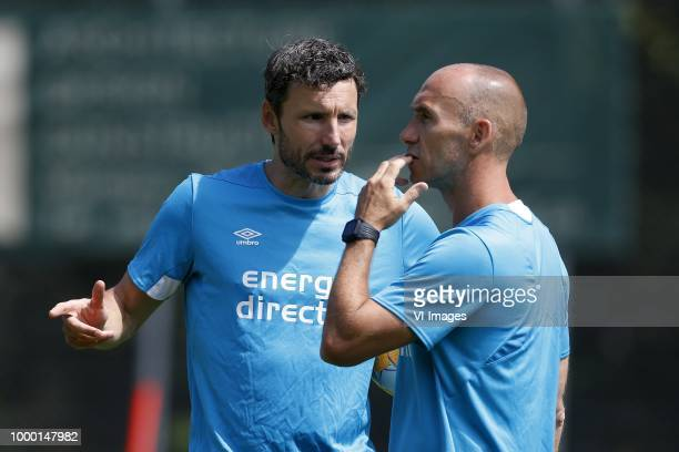 Coach Mark van Bommel of PSV Assistant trainer Jurgen Dirkx of PSV during the training camp of PSV Eindhoven at the Stade StMarc traingscomplex on...