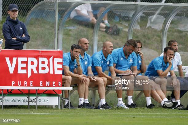Coach Mark van Bommel of PSV Assistant trainer Jurgen Dirkx of PSV Assistant trainer Reinier Robbemond of PSV Ruud Hesp of PSV during the Friendly...
