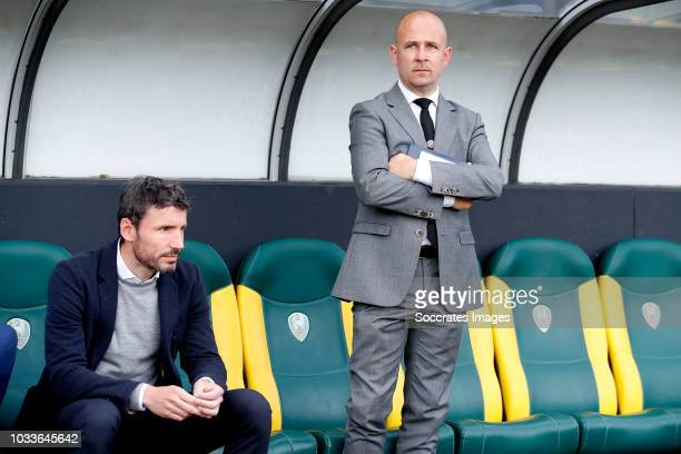 coach Mark van Bommel of PSV press officer Thijs Slegers of PSV during the Dutch Eredivisie match between ADO Den Haag v PSV at the Cars Jeans...