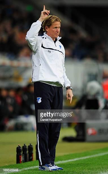 Coach Markus Gisdol of Hoffenheim gestures during the Bundesliga Playoff First Leg match between 1899 Hoffenheim and 1 FC Kaiserslautern at...