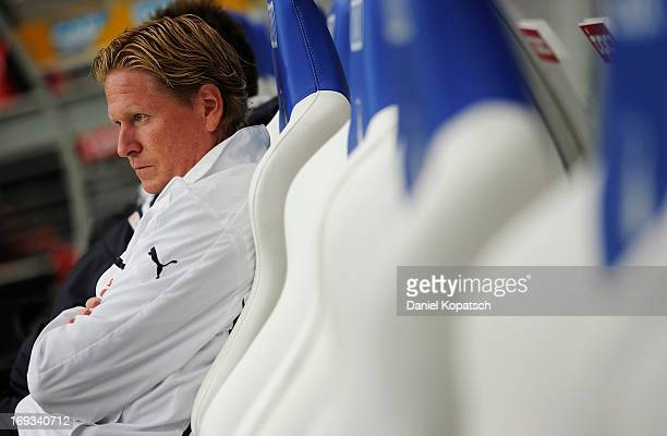 Coach Markus Gisdol of Hoffenheim looks on prior to the Bundesliga Playoff First Leg match between 1899 Hoffenheim and 1 FC Kaiserslautern at...