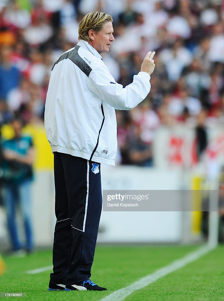 Coach Markus Gisdol of Hoffenheim reacts during the Bundesliga match between VfB Stuttgart and 1899 Hoffenheim at Mercedes-Benz Arena on September 1, 2013 in Stuttgart, Germany.