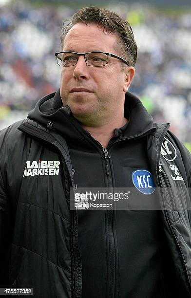 Coach Markus Kauczinski of Karlsruhe looks on prior to the Bundesliga Playoff second leg match between Karlsruher SC and Hamburger SV on June 1 2015...