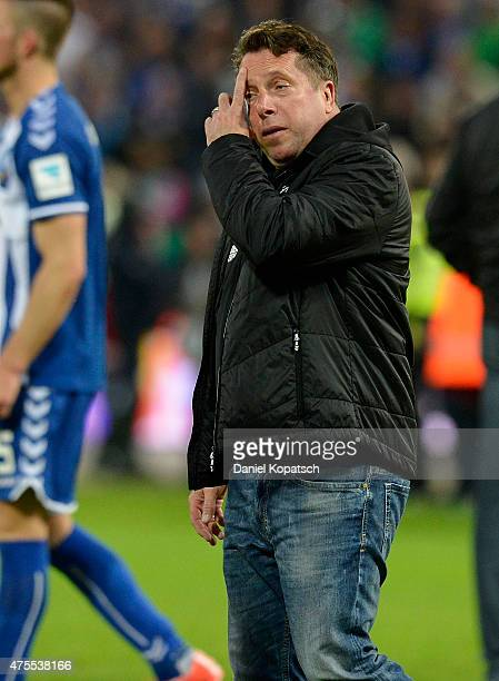 Coach Markus Kauczinski of Karlsruhe reacts after the Bundesliga playoff second leg match between Karlsruher SC and Hamburger SV on June 1 2015 in...