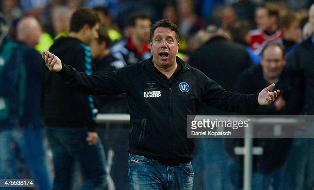 Coach Markus Kauczinski of Karlsruhe reacts during the Bundesliga playoff second leg match between Karlsruher SC and Hamburger SV on June 1 2015 in...