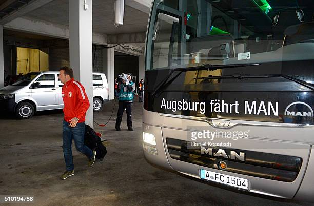 Coach Markus Weinzierl of Augsburg arrives prior to the Bundesliga match between FC Ausgburg and FC Bayern Muenchen at SGL Arena on February 14 2016...