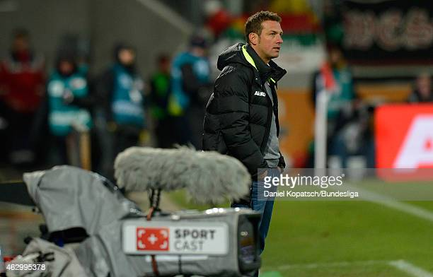 Coach Markus Weinzierl of Augsburg reacts during the first Bundesliga match between FC Augsburg and Eintracht Frankfurt at SGL Arena on February 8...