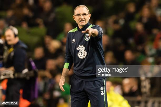 coach Martin O'Neill of Irelandduring the friendly match between Ireland and Iceland on March 28 2017 at the Aviva stadium in Dublin Ireland