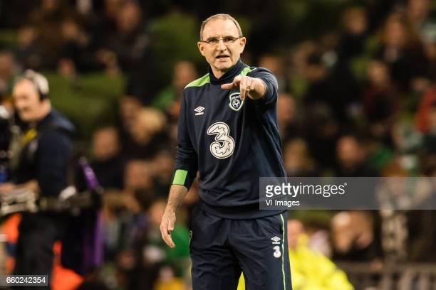 coach Martin O'Neill of Irelandduring the friendly match between Ireland and Iceland on March 28 2017 at the Aviva stadium in Dublin Ireland
