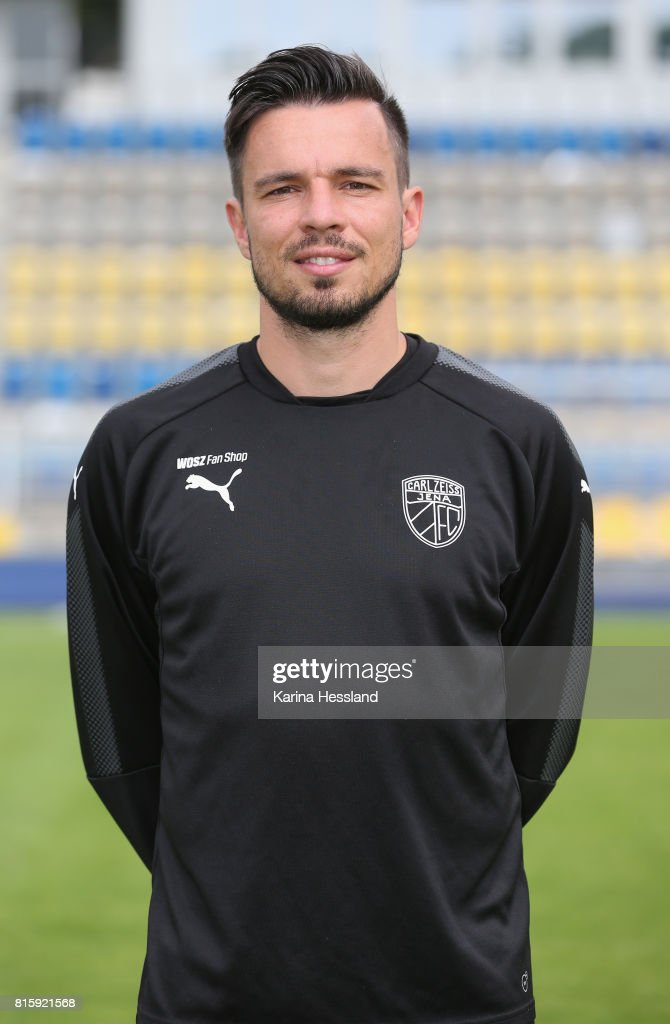 Coach Martin Ullmann of Carl Zeiss Jena poses during the team presentation at on July 17, 2017 in Jena, Germany.