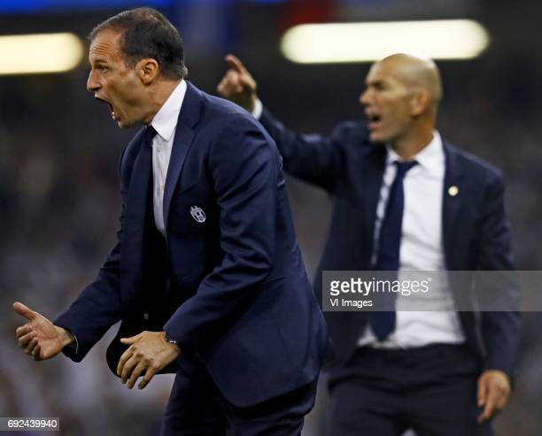 Coach Massimiliano Allegri of Juventus coach Zindedine Zidane of Real Madridduring the UEFA Champions League final match between Juventus FC and Real...