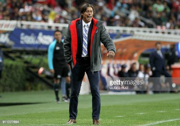 Coach Matias Almeyda of Guadalajara during their Mexican Clausura 2018 tournament football match at the Jalisco stadium in Akron Jalisco State on...