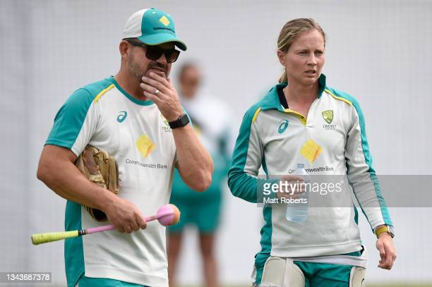 Coach Matthew Mott speaks with Meg Lanning of Australia during a training session after a media opportunity ahead of the Women's International Test...