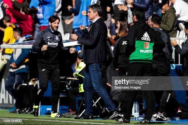 coach Mauricio Pellegrino of Leganes during the La Liga Santander match between Leganes v Atletico Madrid at the Estadio Municipal de Butarque on...