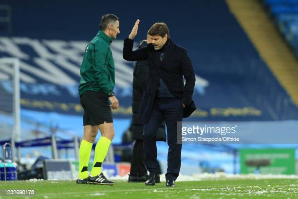 Coach Mauricio Pochettino reacts with frustration after a missed chance during the UEFA Champions League Semi Final Second Leg match between...