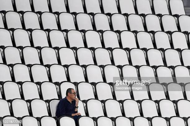 Coach Maurizio Sarri of Juventus during the Italian Serie A match between Juventus v AS Roma at the Allianz Stadium on August 1, 2020 in Turin Italy