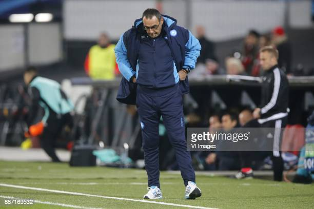 coach Maurizio Sarri of SSC Napoli during the UEFA Champions League group F match between Feyenoord Rotterdam and SSC Napoli at the Kuip on December...