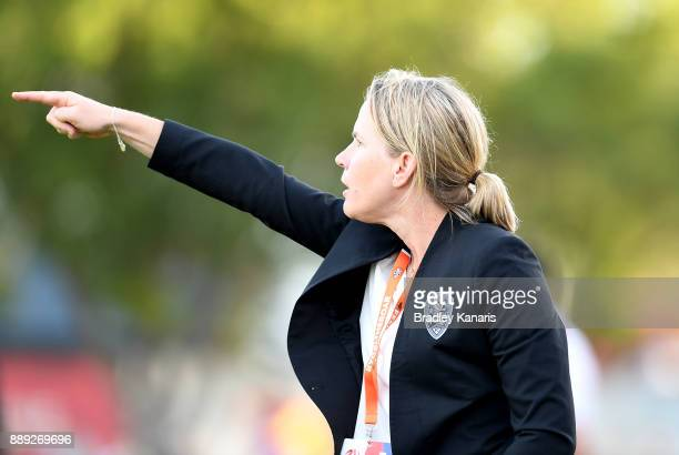 Coach Melissa Andreatta of the Roar gives directions during the round seven WLeague match between the Brisbane Roar and the Newcastle jets at AJ...