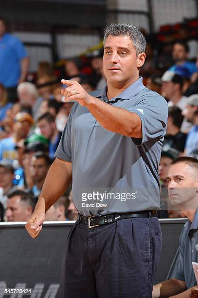 Coach Micah Nori of the Denver Nuggets looks on against the Memphis Grizzlies during the 2016 NBA Las Vegas Summer League game on July 9 2016 at the...