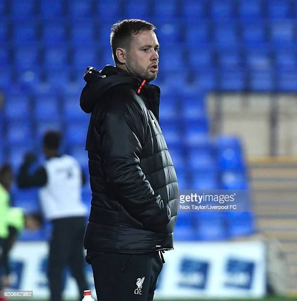 U23 coach Michael Beale of Liverpool during the Premier League International Cup game at Prenton Park on November 2 2016 in Birkenhead England