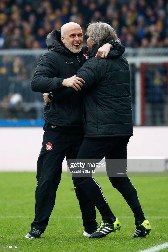 Coach Michael Frontzeck and Goalkeeper Coach Gerry Ehrmann of Kaiserslautern celebrate after the Second Bundesliga match between Eintracht Braunschweig and 1. FC Kaiserslautern at Eintracht Stadion on February 4, 2018 in Braunschweig, Germany.