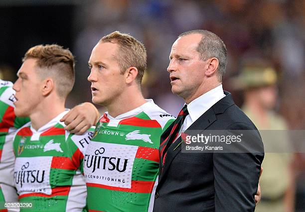 Coach Michael Maguire during the national anthem before the round eight NRL match between the Brisbane Broncos and the South Sydney Rabbitohs at...