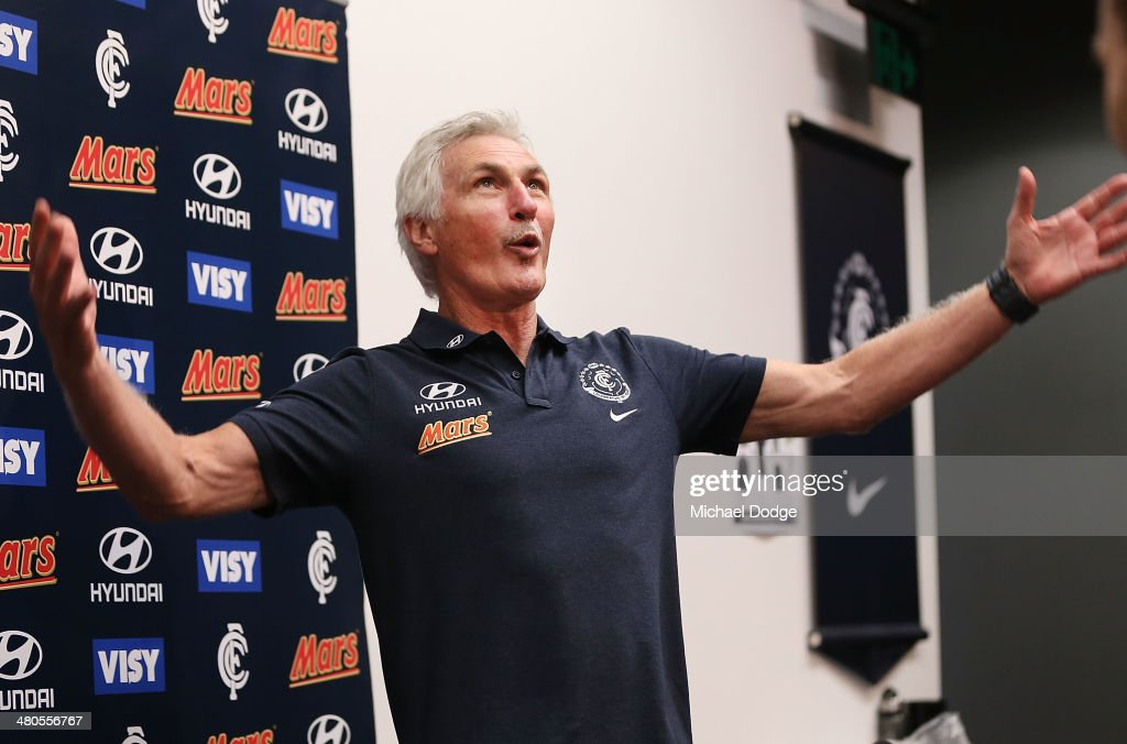 Coach Michael Malthouse reacts during a Carlton Blues media session at Visy Park on March 26, 2014 in Melbourne, Australia. Photo by Michael Dodge/Getty Images)