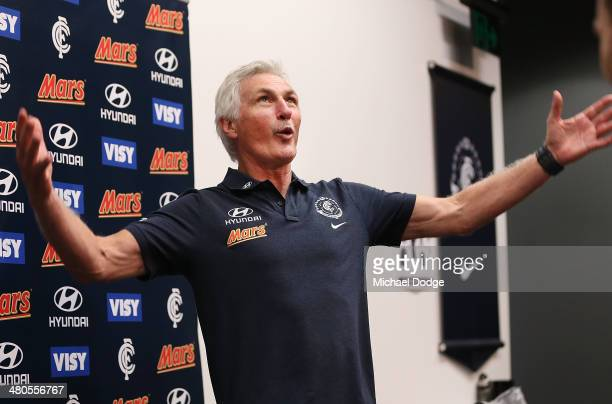 Coach Michael Malthouse reacts during a Carlton Blues media session at Visy Park on March 26 2014 in Melbourne Australia Photo by Michael Dodge/Getty...