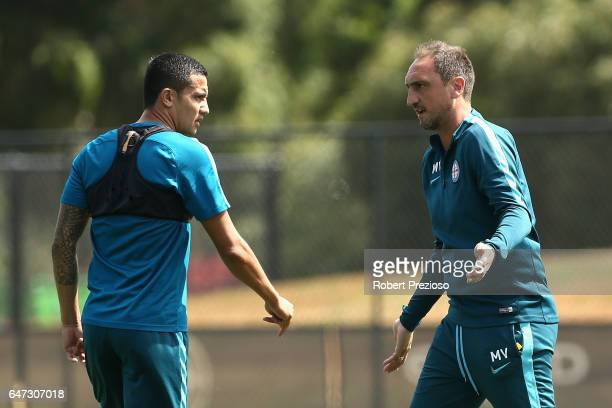 Coach Michael Valkanis gives instructions as Tim Cahill looks on during a Melbourne City FC training session at City Football Academy on March 3 2017...